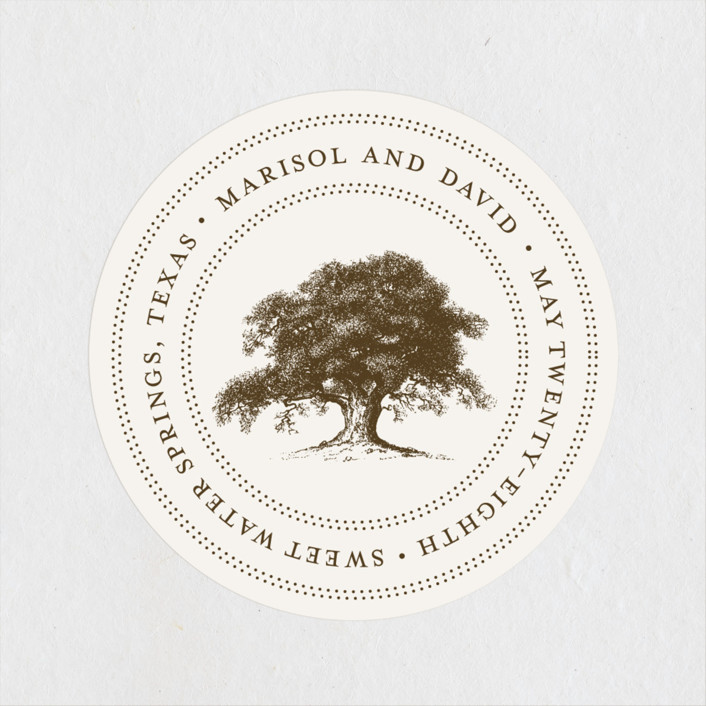 """Modern Crest"" - Rustic Wedding Favor Stickers in Gravy by Milkmaid Press."