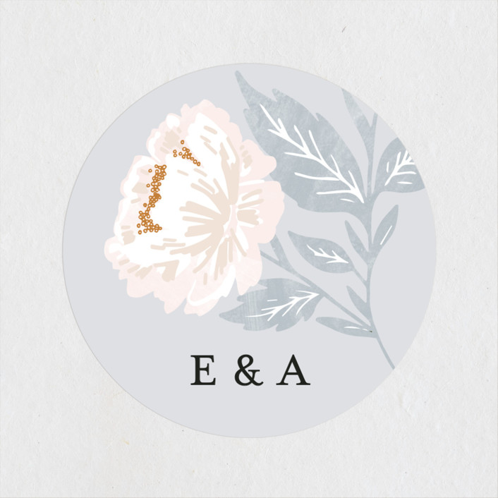 """Peony Floral Frame"" - Wedding Favor Stickers in Cornflower by Alethea and Ruth."