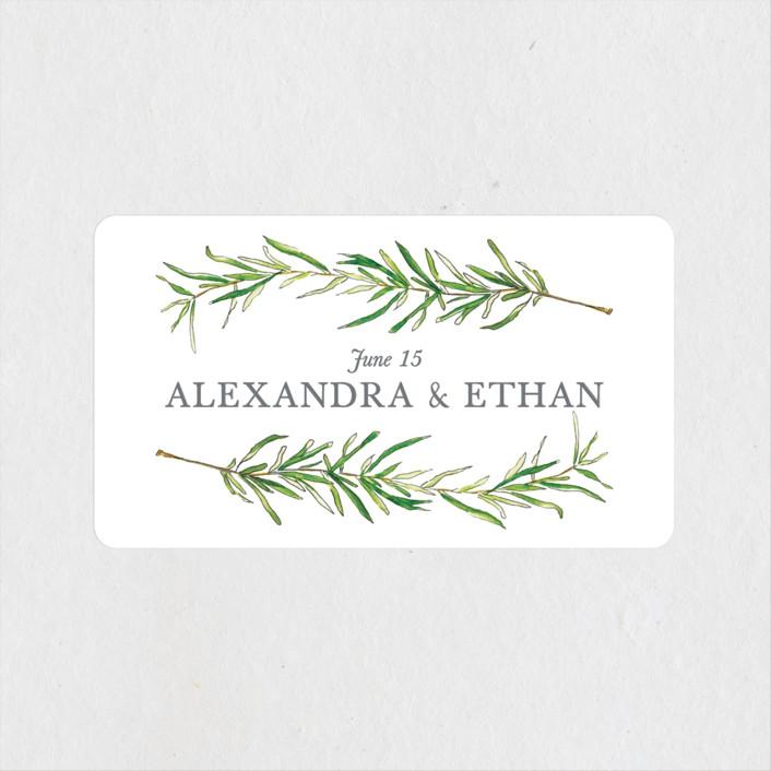 """Simple Sprigs"" - Rustic Wedding Favor Stickers in Fern by Erin Deegan."