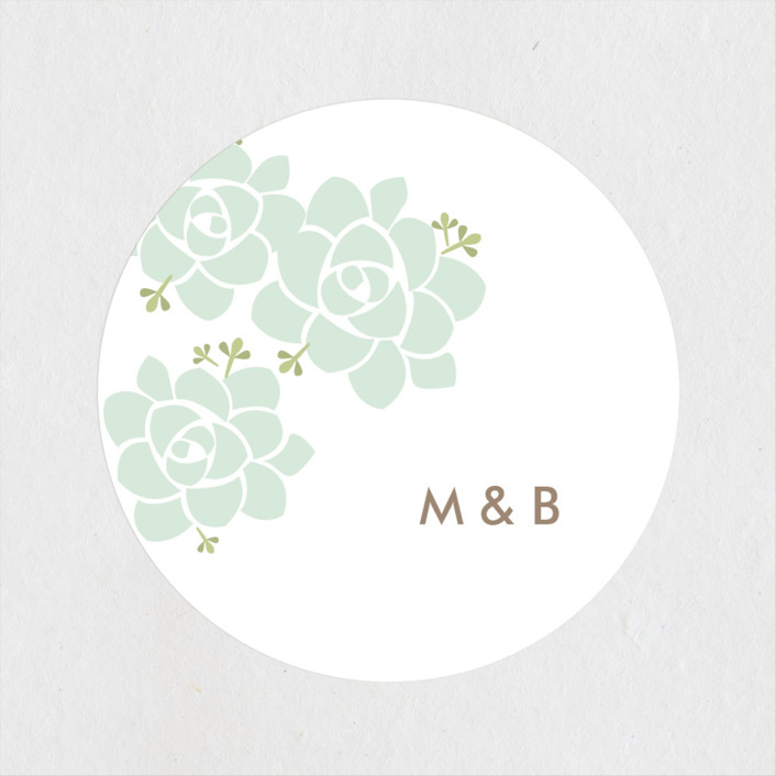 """Sunday Succulent"" - Wedding Favor Stickers in Sea Mist by Carolyn MacLaren."