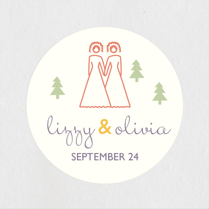 """Two Brides Destination"" - Wedding Favor Stickers in Lilac Haze by leslie hamer."