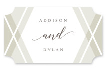 This is a gold wedding favor label by Genna Cowsert called Hexagon with standard printing on uncoated sticker paper in sticker.