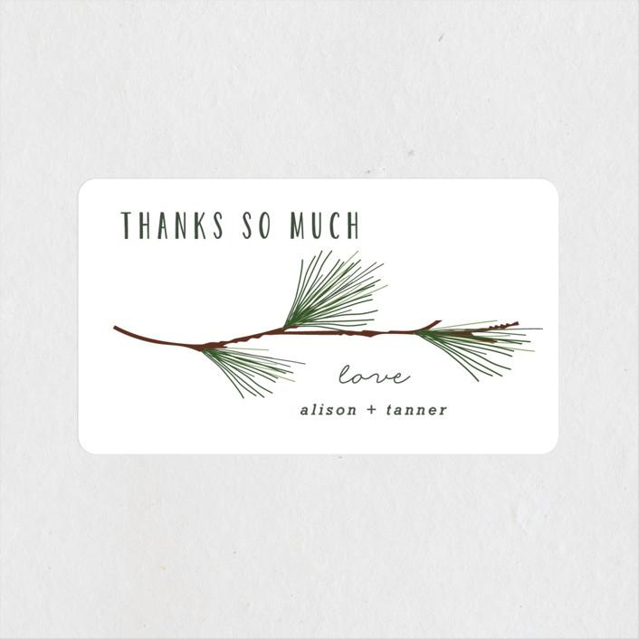 """Rustic Wedding"" - Rustic Wedding Favor Stickers in Pine by Susan Brown."