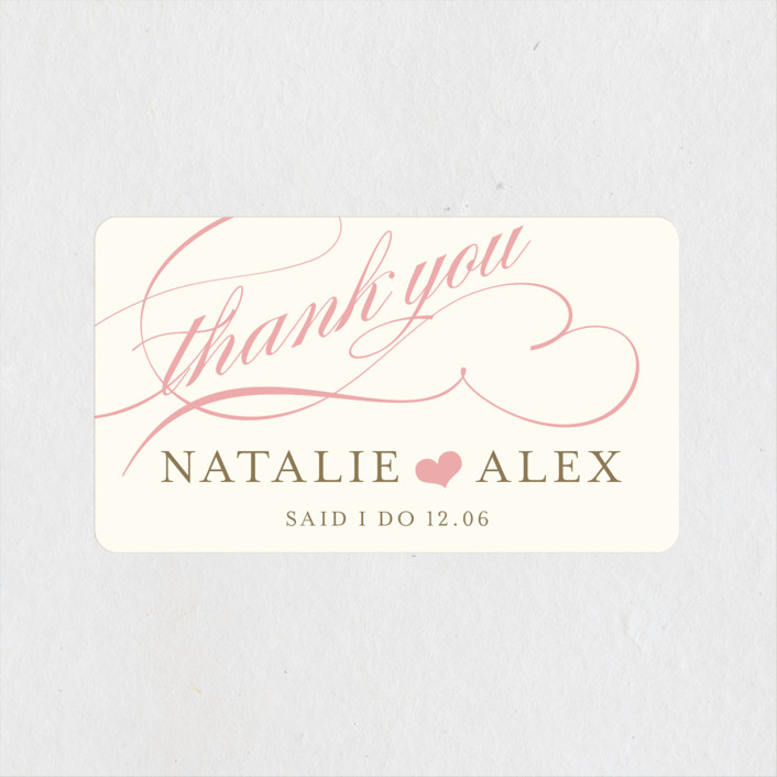 """Winter Flourish"" - Elegant, Formal Wedding Favor Stickers in Petal Pink by annie clark."