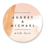 This is a orange wedding favor label by Ariel Rutland called Watercolor Wisp with standard printing on uncoated sticker paper in sticker.