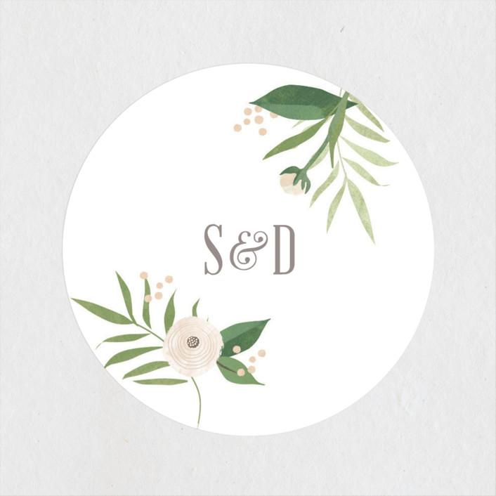 """Classic peonies"" - Wedding Favor Stickers in Peach by Jennifer Wick."