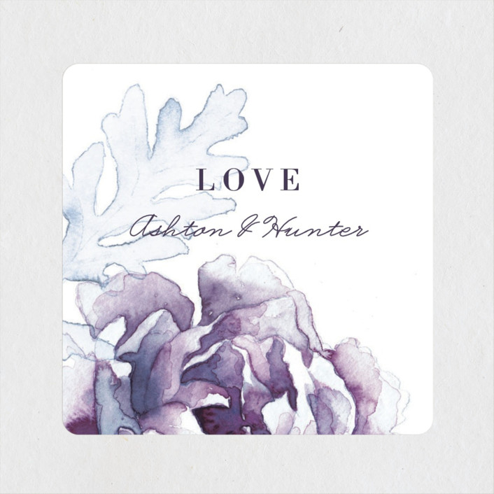 """""""Evening Bloom"""" - Wedding Favor Stickers in Eggplant by Snow and Ivy."""