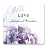 This is a purple wedding favor label by Snow and Ivy called Evening Bloom with standard printing on uncoated sticker paper in sticker.
