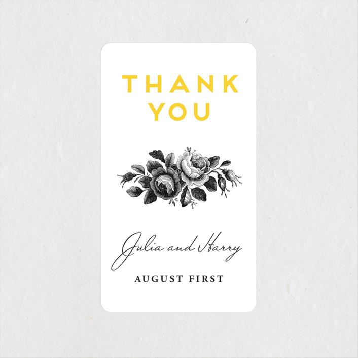 """Bouquet Monogram"" - Wedding Favor Stickers in Sunflower by Chryssi Tsoupanarias."