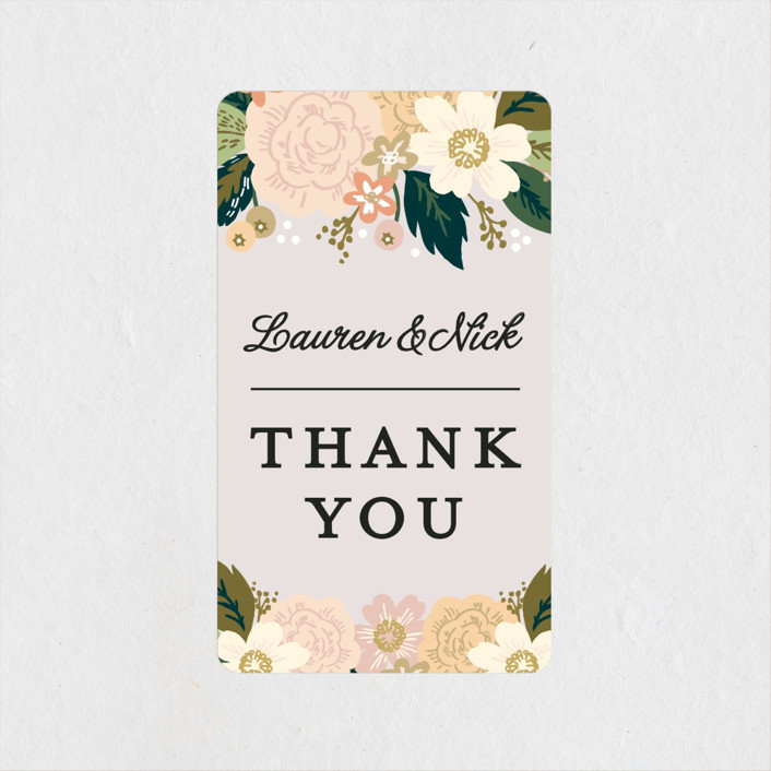 """Classic Floral"" - Wedding Favor Stickers in Spring Blush by Alethea and Ruth."