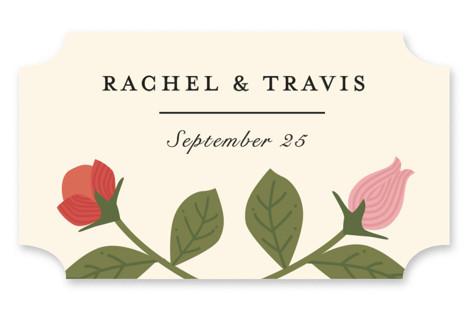 Cottage Rose Wedding Favor Stickers
