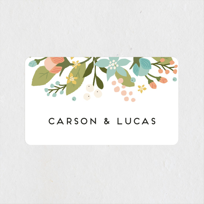 """Floral Ampersand"" - Rustic Wedding Favor Stickers in Sea Breeze by Jennifer Wick."