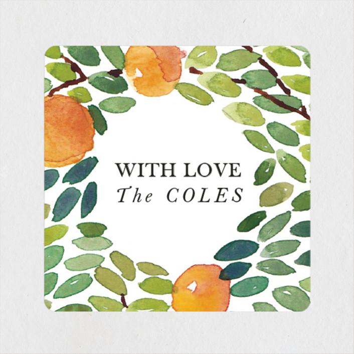 """""""Orangerie"""" - Wedding Favor Stickers in Tangerine by Haley Mistler."""