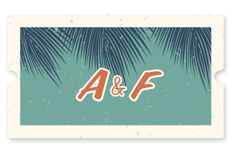 Retro Hawaii Wedding Favor Stickers