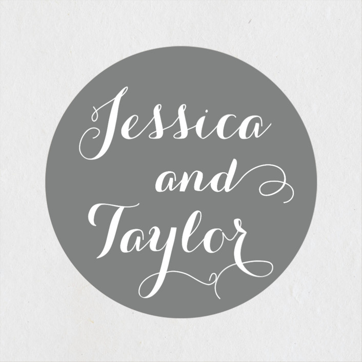 """Just Lovely"" - Modern Wedding Favor Stickers in Grey Chalkboard by Sara Hicks Malone."