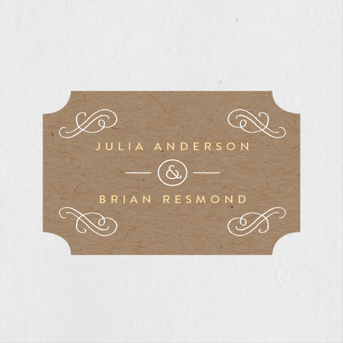 """Hand Delivered"" - Rustic Wedding Favor Stickers in Kraft by Jennifer Wick."