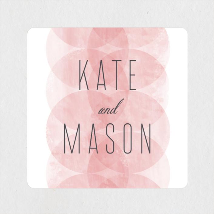 """Bliss"" - Modern Wedding Favor Stickers in Blush by Kristie Kern."