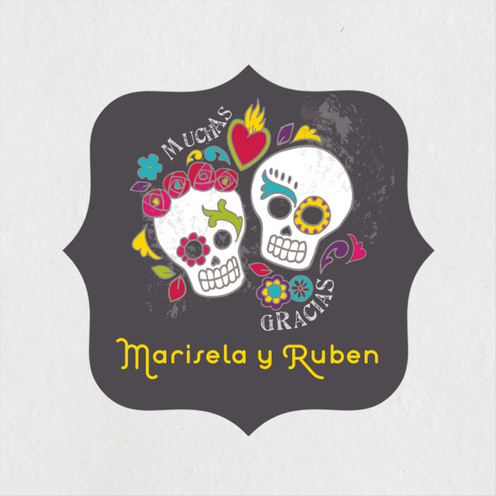 Dia De Los Muertos Whimsical Funny Wedding Favor Stickers In Slate By