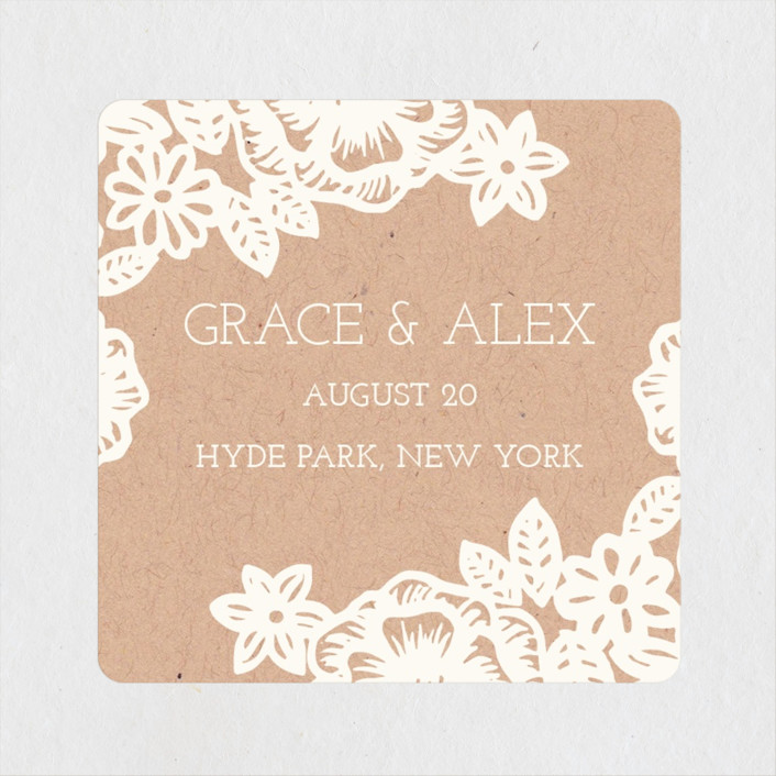 """Lace and Kraft"" - Vintage, Floral & Botanical Wedding Favor Stickers in Kraft by Katharine Watson."