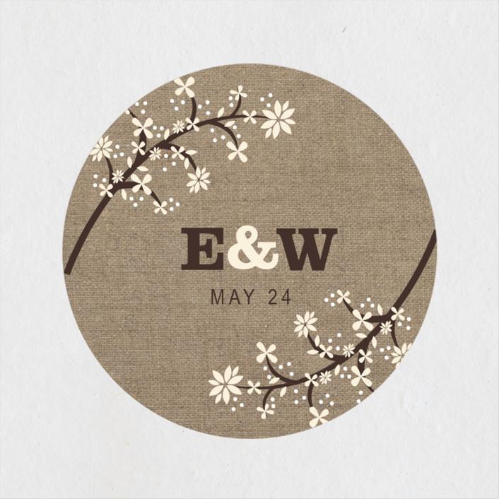 """Burlap Bliss"" - Rustic Wedding Favor Stickers in Burlap by Beth Schneider."