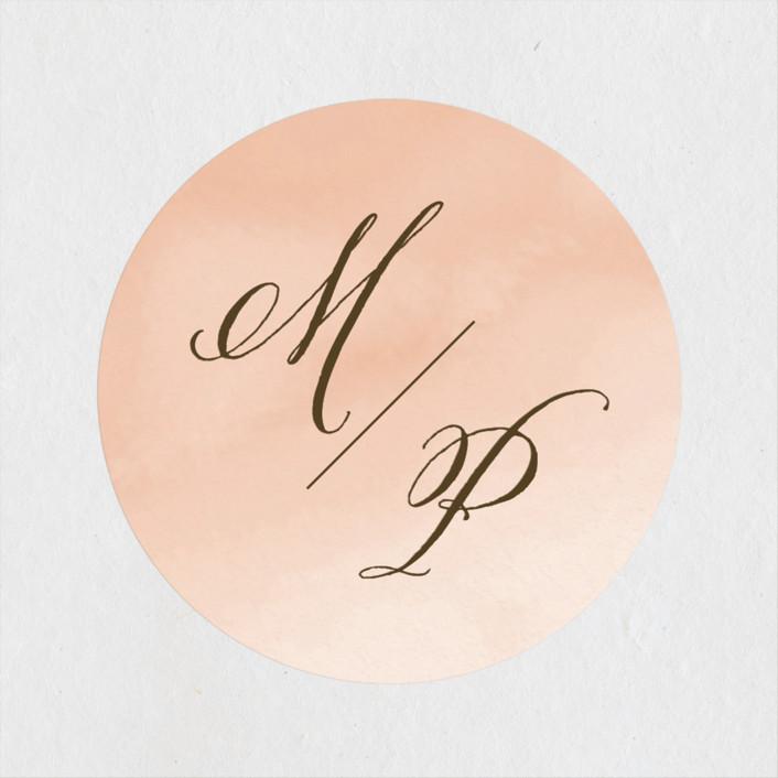 """Watercolor Wash"" - Wedding Favor Stickers in Peach by Lehan Veenker."