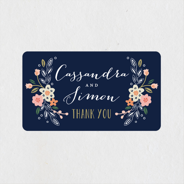 """""""Wildflower Crest"""" - Wedding Favor Stickers in Navy by Alethea and Ruth."""
