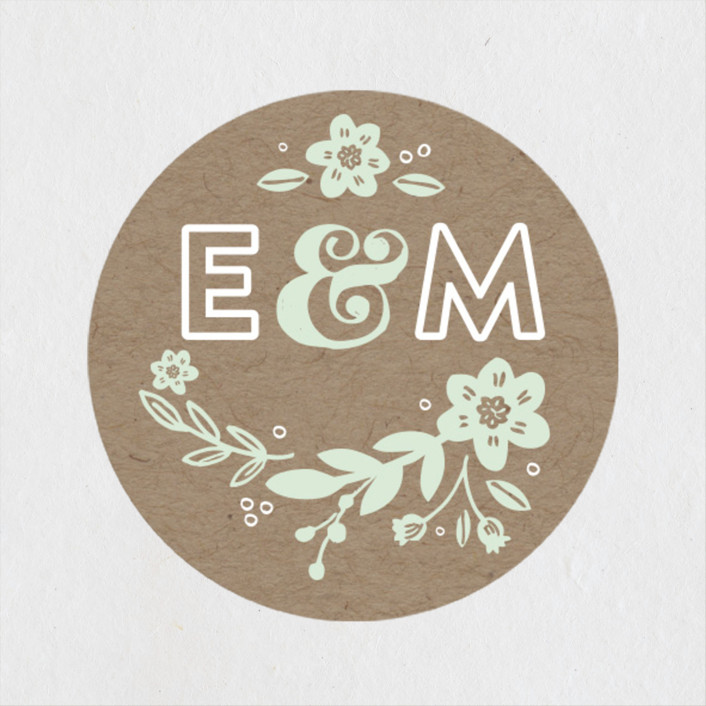 """Ampersand Floral"" - Rustic Wedding Favor Stickers in Mint by Alethea and Ruth."