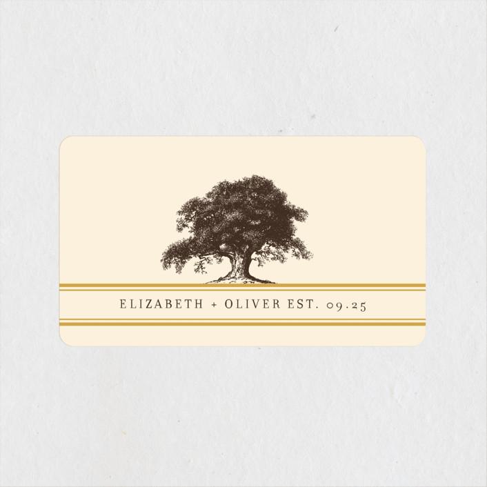"""""""Oak Tree"""" - Rustic Wedding Favor Stickers in Butterscotch by annie clark."""