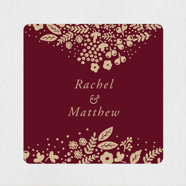 """Millefleur"" - Wedding Favor Stickers in Burgundy by My Splendid Summer."