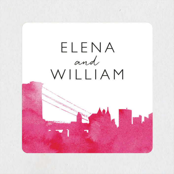 """Skyline - New York"" - Modern Wedding Favor Stickers in Magenta by Laura Condouris."