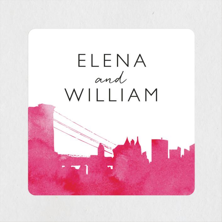 """""""Skyline - New York"""" - Modern Wedding Favor Stickers in Magenta by Laura Condouris."""