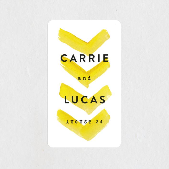 """Painted Chevrons"" - Bohemian, Modern Wedding Favor Stickers in Lemon Drop by Hooray Creative."