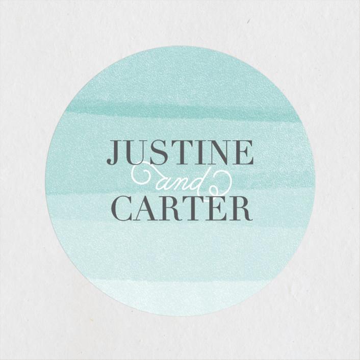"""""""Old Post Road"""" - Wedding Favor Stickers in Sea Salt by Jennifer Wick."""
