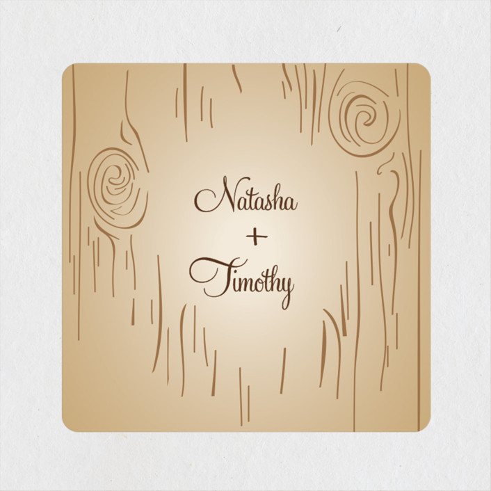 """Fall Carving"" - Rustic, Whimsical & Funny Wedding Favor Stickers in Woodgrain by Amanda Joy."