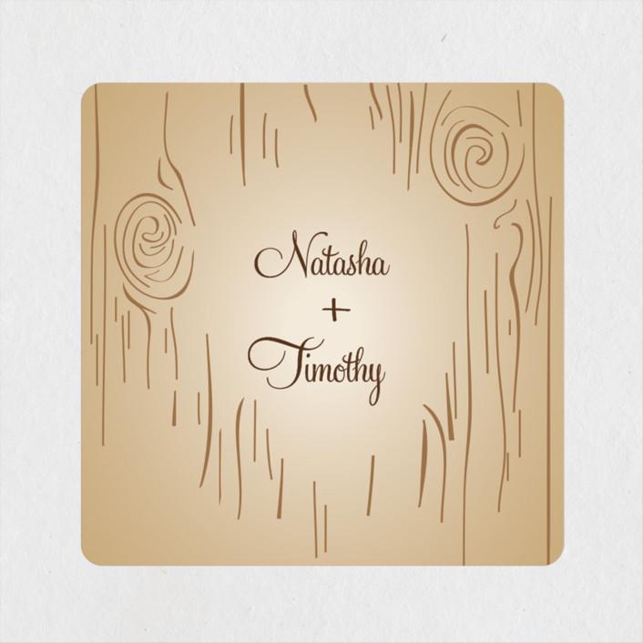 """Fall Carving"" - Rustic, Bohemian Wedding Favor Stickers in Woodgrain by Amanda Joy."