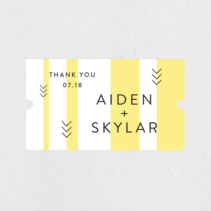 """""""Direction"""" - Modern Wedding Favor Stickers in Lemon by Owl and Toad."""