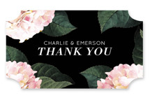 This is a black wedding favor label by Baumbirdy called Peonie Party with standard printing on uncoated sticker paper in sticker.