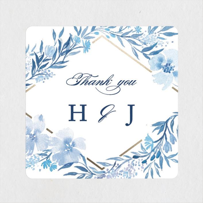 """Poetic Blue"" - Wedding Favor Stickers in Sky by Qing Ji."