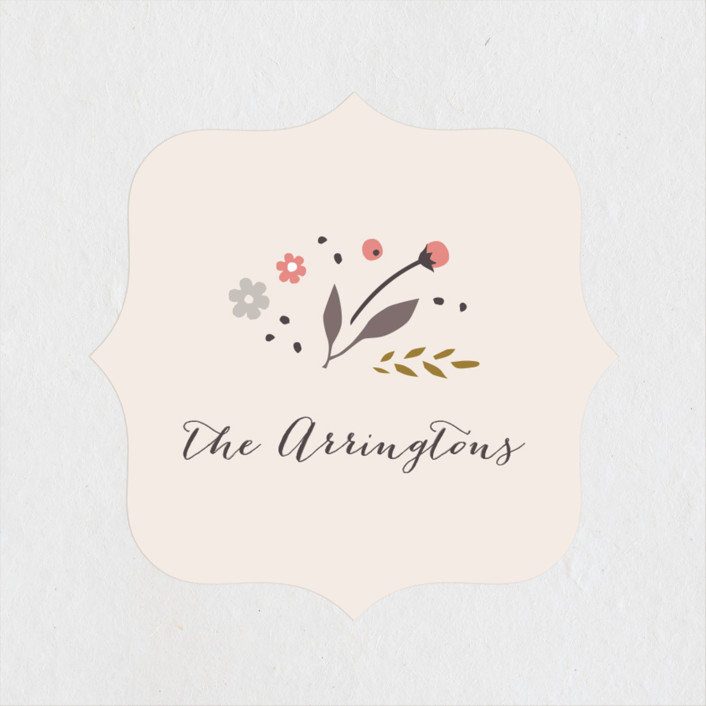 """Classic Garden"" - Wedding Favor Stickers in Poppy by Kristie Kern."