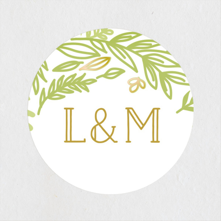 """Gathering Of Leaves"" - Wedding Favor Stickers in Moss by Ariel Rutland."