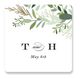This is a green wedding favor label by Jennifer Postorino called Trailing Vine with standard printing on uncoated sticker paper in sticker.