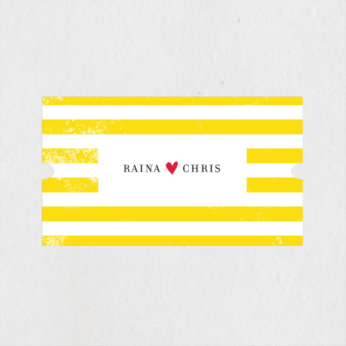 """Bold Stripes"" - Preppy Wedding Favor Stickers in Lemon Yellow by flock press."