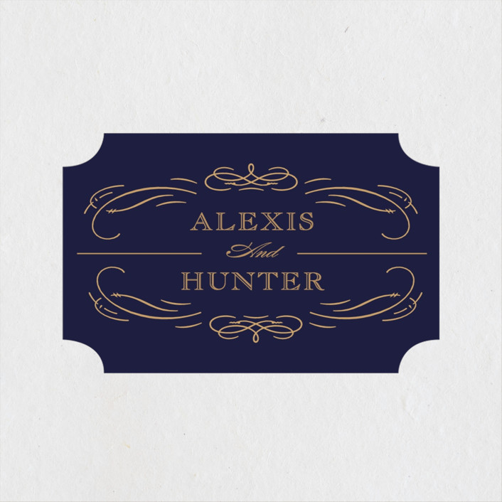 """""""Elegant Flourishes"""" - Vintage Wedding Favor Stickers in Navy by Kristen Smith."""