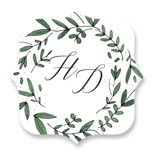 This is a green wedding favor label by Kelly Schmidt called Floral Wreath with standard printing on uncoated sticker paper in sticker.