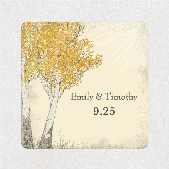 """""""Fall Tranquility"""" - Rustic Wedding Favor Stickers in Sand by Jenifer Martino."""