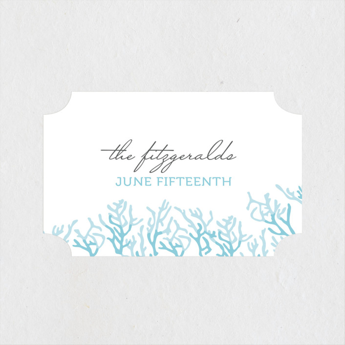 """Simple Coral"" - Wedding Favor Stickers in Aqua Blue by SimpleTe Design."