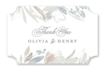 This is a grey wedding favor label by Creo Study called Blooming border with standard printing on uncoated sticker paper in sticker.