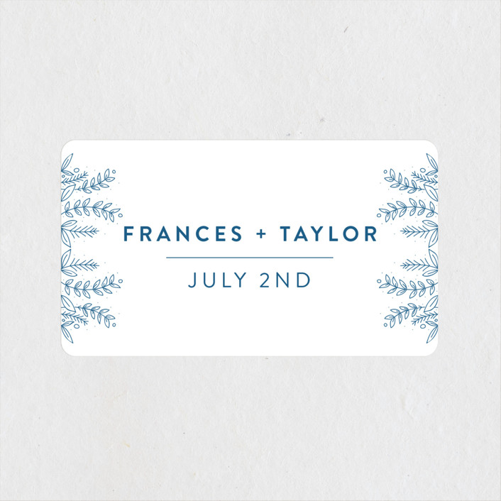 """""""Botanical"""" - Wedding Favor Stickers in Cobalt by Bethan."""