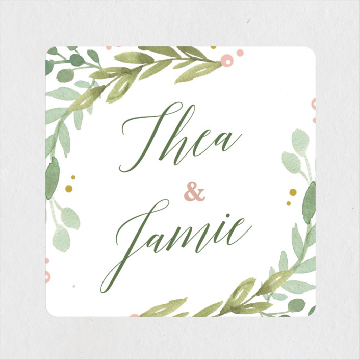 """Garden Glamour"" - Wedding Favor Stickers in Sage by Kristen Smith."