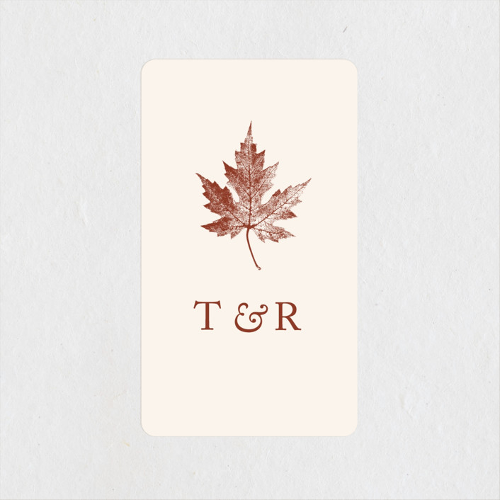 """Leaf Print"" - Rustic Wedding Favor Stickers in Rust by Katharine Watson."